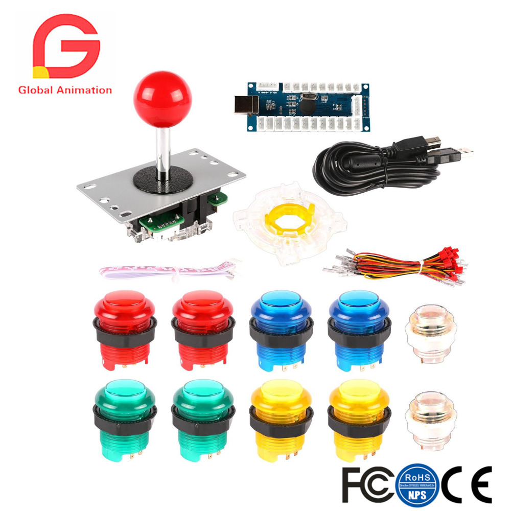 2 Player LED Arcade Game DIY Kit for Joystick MAME Raspberry Pi Zero Delay USB Encoder + LED Push Button Octagonal Restrictor