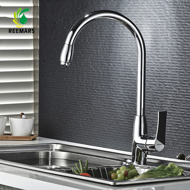 Genuine REEMARS High Quality Kitchen Faucet Hot And Cold Mixer Chrome  Single Handle Ceramic Brass 360