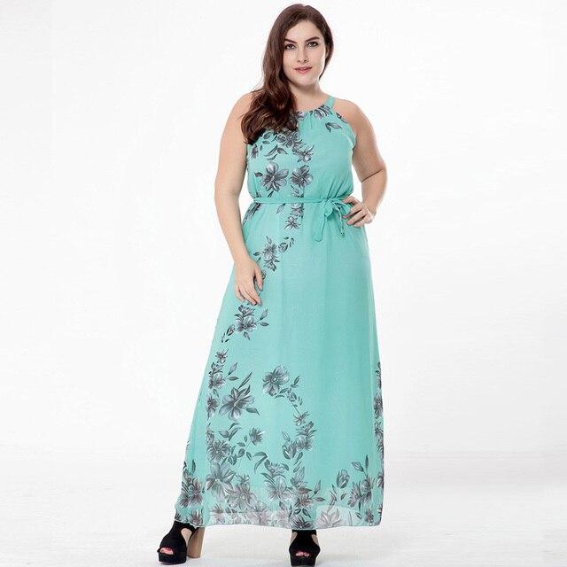 9c962c0f4d8 Women summer Bohemian print Chiffon large size dress lady Sleeveless Plus  Size Dress fat mm big size Beach Vacation long Dresses