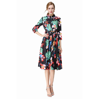 New Arrival Charming Black Leaves Printed Bird Beaded Dress Women S Dress 170412YL01