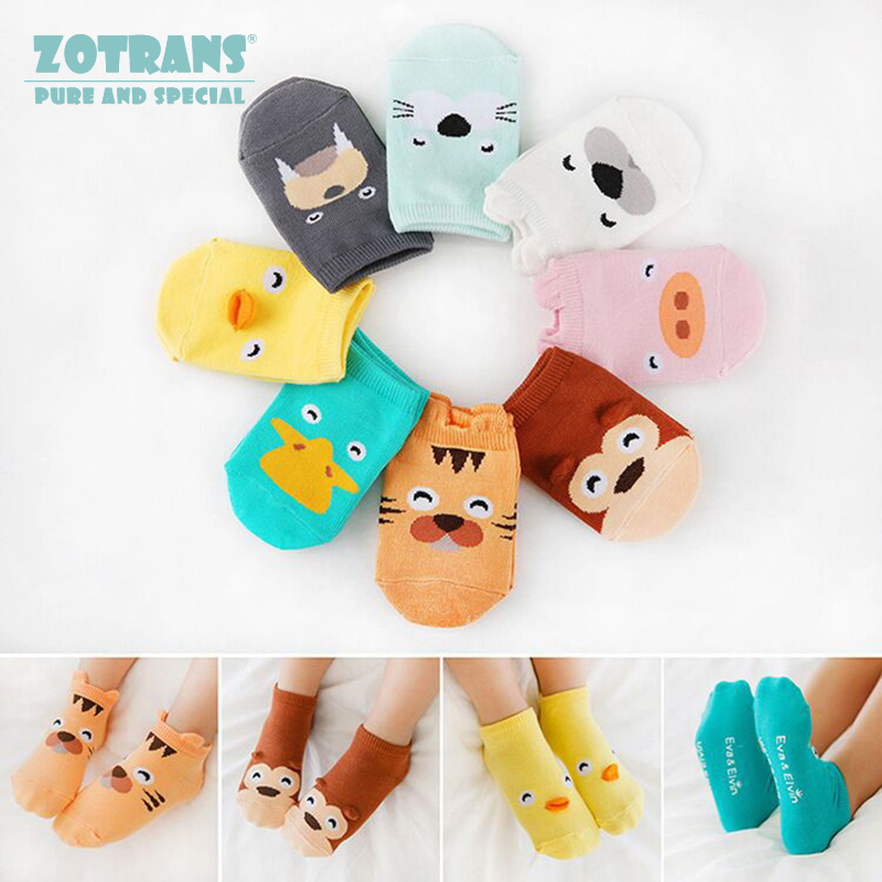 Baby Boy Socks Newborns Cotton Summer Aumtumn Cartoon Animal Socks Infant Anti-Slip Toddle Socks Girls Short Socks For 0-2Years