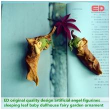 Фотография 2pcs/setED original quality design artificial angel figurines sleeping leaf baby dullhouse fairy small garden landscape ornament
