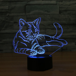 Cat 3D Night Light Animal Changeable Mood Lamp LED 7 Colors USB 3D Illusion Table Lamp For Home Decorative As Kids Toy Gift