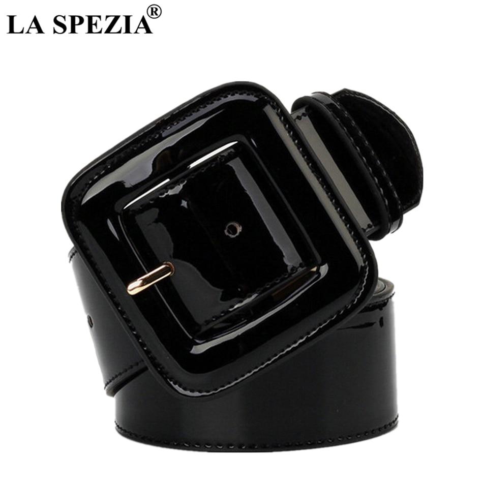 LA SPEZIA Wide Ladies Belts Black Patent Leather Belt Women Genuine Leather Cowhide Fashion Big Buckle Square Belt For Dresses leather