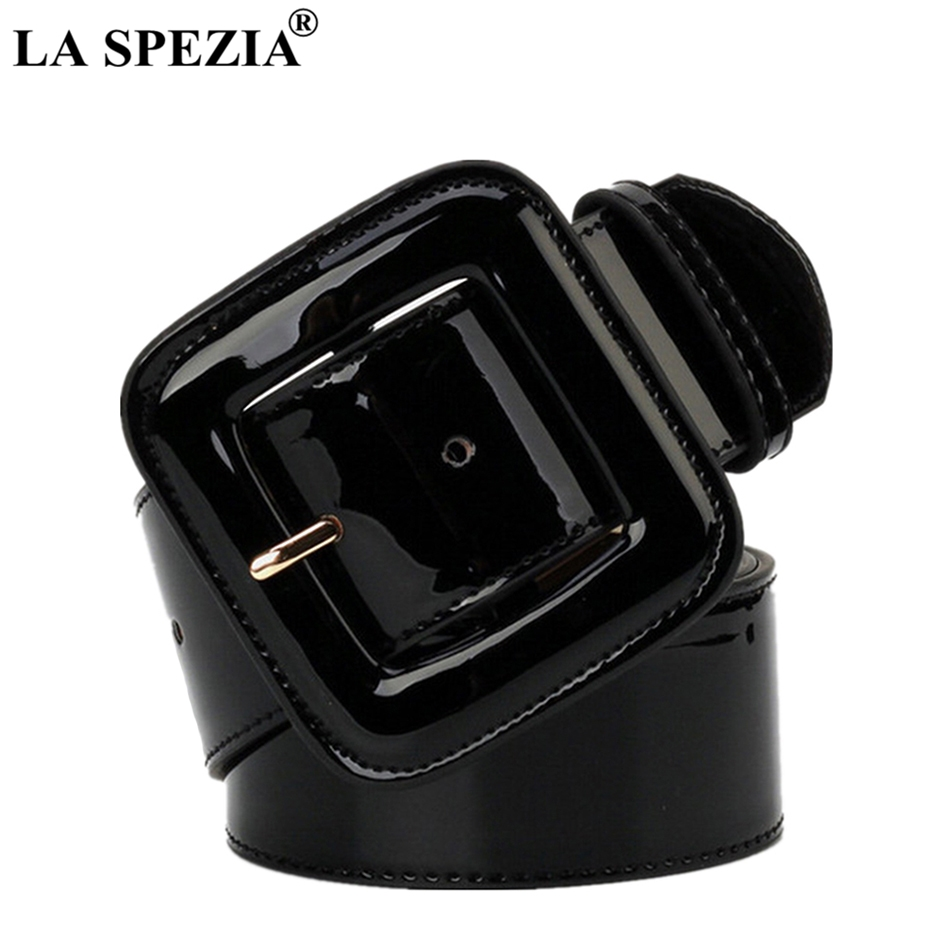 LA SPEZIA Wide Ladies Belts Black Patent Leather Belt Women Genuine Leather Cowhide Fashion Big Buckle Square Belt For Dresses
