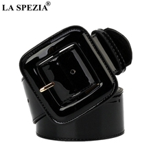 LA SPEZIA Wide Ladies Belts Black Patent Leather Belt Women Genuine Cowhide Fashion Big Buckle Square For Dresses