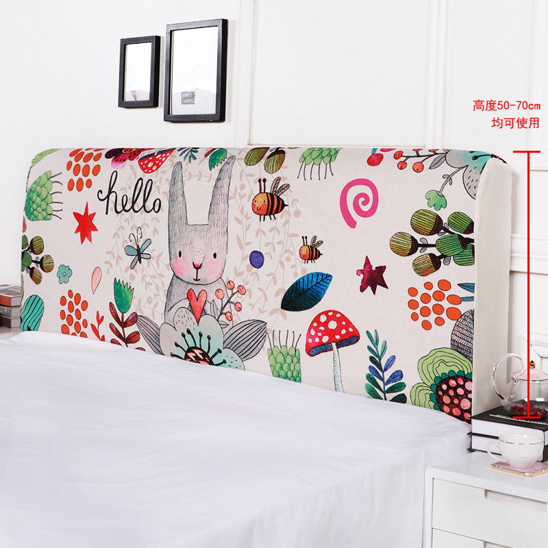 120-200cm Nordic Cartoon Pattern Cotton Linen Printed Full Enclosed Elastic Dust-proof Bed Head Cover/ Protective Cover