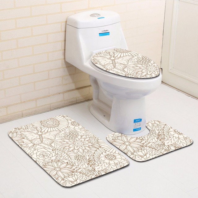 Honlaker 3pcs Modern Geometric Patterns Bathroom Toilet Mats Set