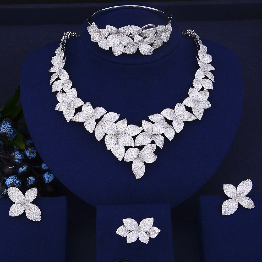 Fashion dubai gold jewelry sets for women Cubic Zirconia Collar Necklace Stud Earrings Bracelet Ring For Women Wedding 4pcs trendy flower shape indian jewelry sets cubic zirconia collar necklace stud earrings bracelet ring for women wedding