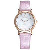 Disney Mickey Mouse rose en cuir diamant montre pour femme de luxe marque d'origine quartz femmes horloge montre étanche casual