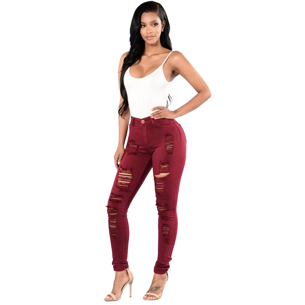 Wash Shredded Ripped <font><b>Pencil</b></font> Skinny casual Hole Jeans Women black High Waist Slim Long Pants Stretchy Denim Jeans7.13 <font><b>0.2</b></font> image
