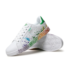 White mix colors ink painting style ladies shoes