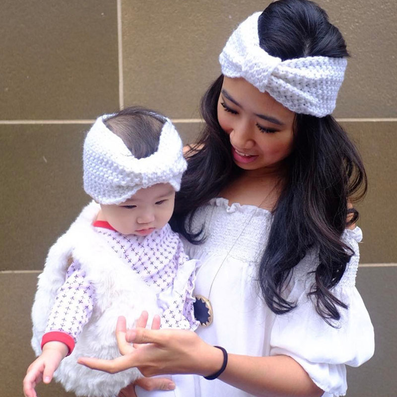 Mommy and Me Matching Turban Headband Bow Knot Headband for Winter Girl Crochet Head wrap Warmer Knitted Bow Hairband fashion winter warm twist crochet yarn head wrap ear warmer women turban women girl knitted headband headwear