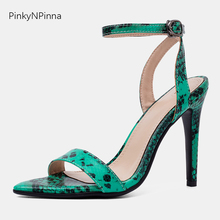 2019 summer super high heels snakeskin pattern sexy sandals woman ankle wrap pointed toe buckle open fashion shoes female