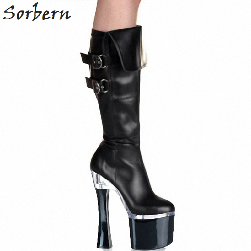 Sorbern Black Matt Pu Mid Calf Boots 18Cm Chunky Heels 8Cm Platform Boots Shoes Big Size Black Woman Bootie Comfortable Shoes double buckle cross straps mid calf boots