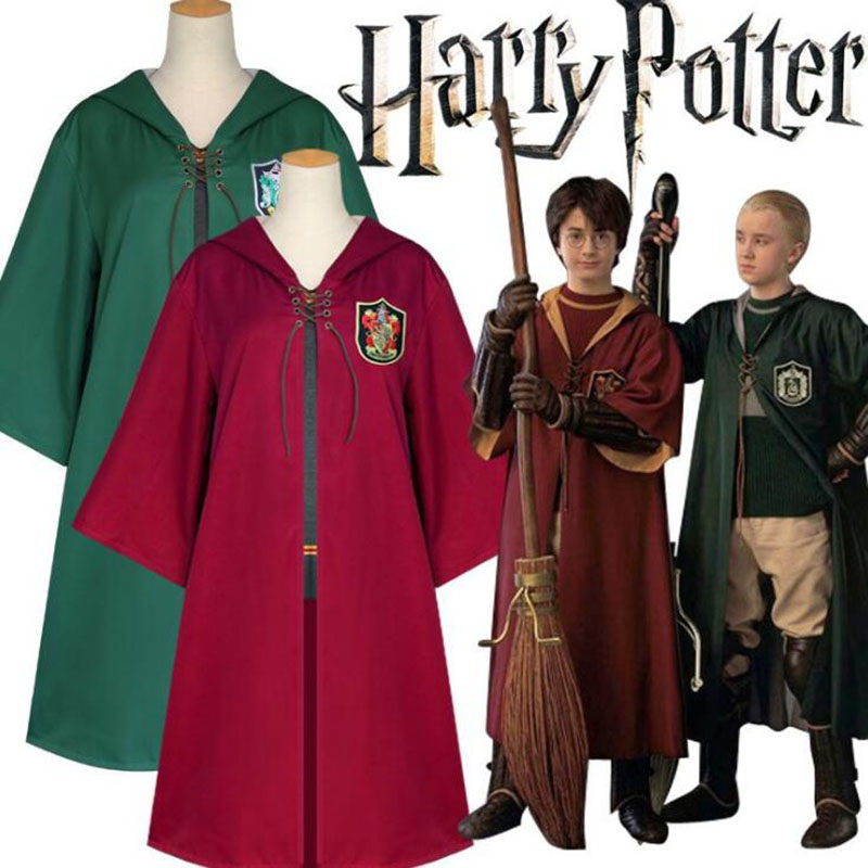 Slytherin Adult Youth Robe Cape Tie Wizard Cloak Xmas Kids School COS Costumes