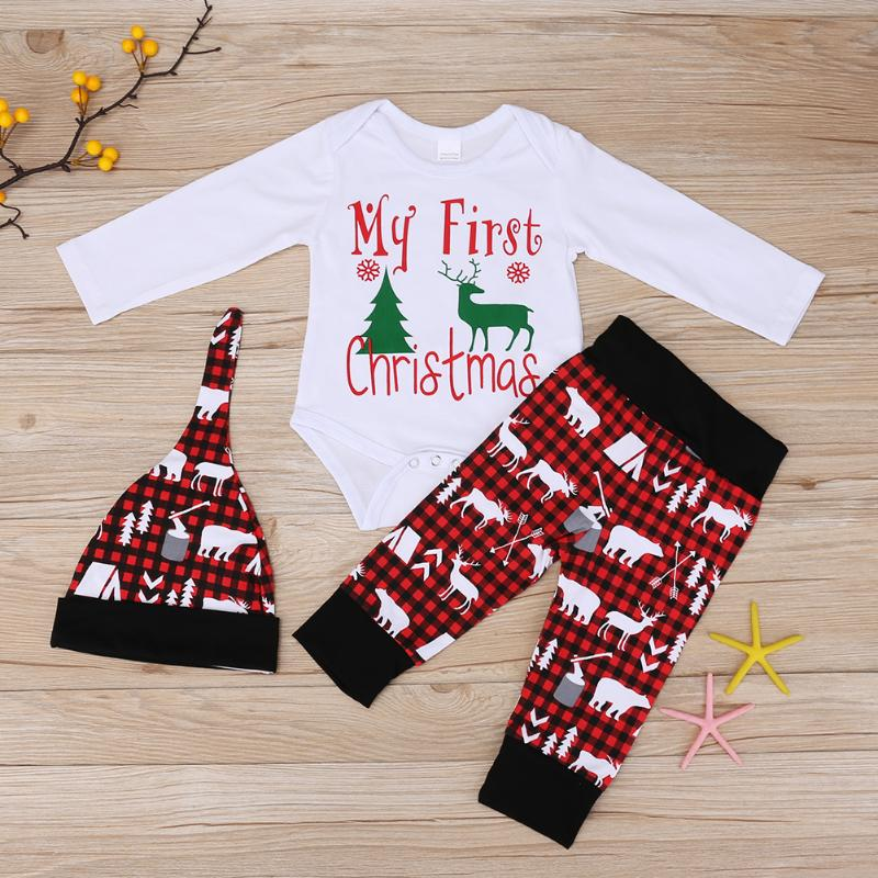 Fashion Baby Clothes Set My First Christmas Boy Girl Deer Letter Print Romper Plaid Pants with Hat for Newborn Clothing цены онлайн