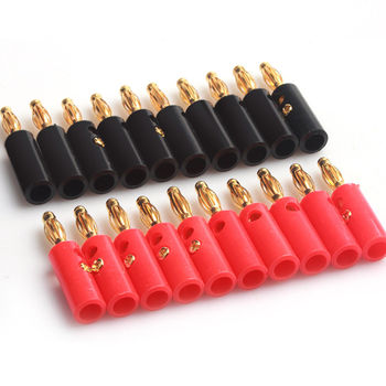 10pcs/set Banana Plug 4mm Gold Plated Audio Speaker Wire Cable Screw Banana Plug Connector areyourshop sale 20 pcs gold plated banana spade plug solderless speaker