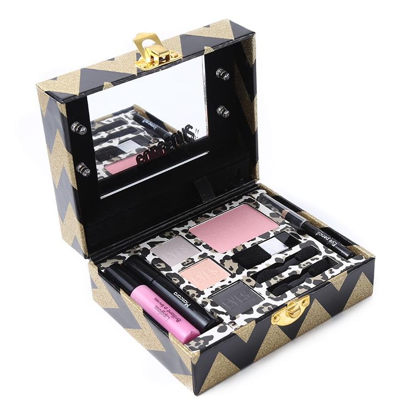 Miss Rose Make Up Set Makeup Palette Shimmer Matte Eye Shadow Face Blush Lip Gloss Eye Pencil with Luminous Mirror Cosmetic Tool