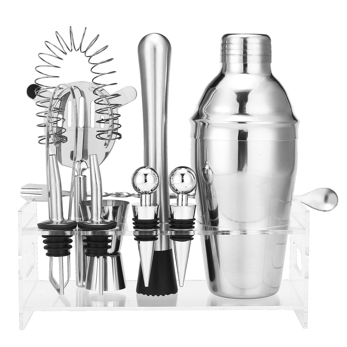 Stainless Steel 350/550ML 10PCS Barware Set Cocktail Shaker Measuring Cup Wine Drinking Mixer Kit Bar Tools Accessories Kitchen