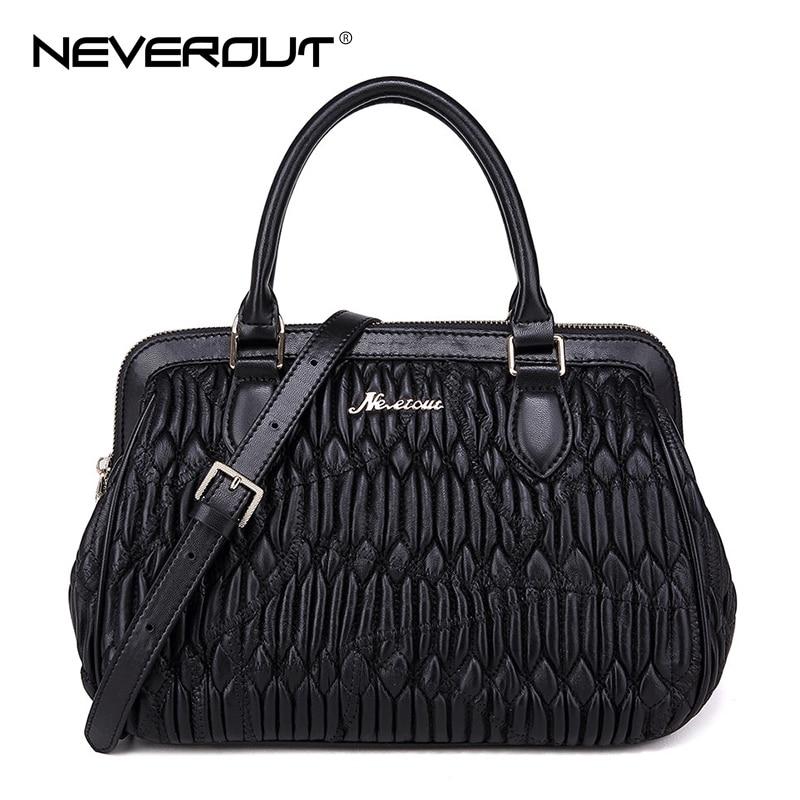 NEVEROUT Elegant Women s Bags Genuine Leather Sheepskin Bag Frame Handbags  Shoulder Sac Black Messenger Crossbody Handbag Tote-in Top-Handle Bags from  ... 003af5aaaf