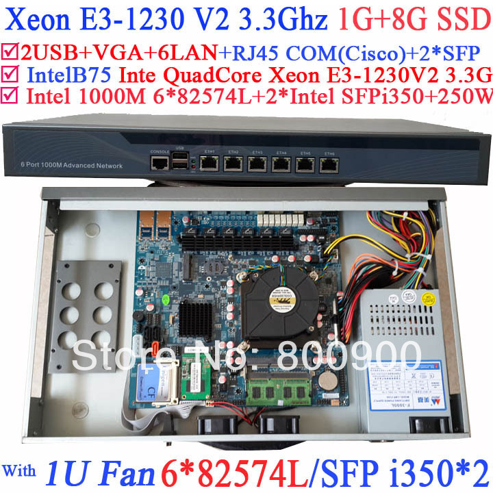 Quad Core mini pc server with Xeon E3-1230 V2 3.3G 8 Ports 6*1000M 82574L Gigabit Nic 2* i350 SFP
