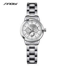 SINOBI Women Watch Elegant Brand Famous Luxury Silver Quartz Watches Ladies Steel Antique Geneva Wristwatches Relogio 2017 Gift