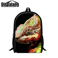 Dispalang 3D Zoo Animal Printing Backpack Personalized Chameleon Backpacks High Quality School Bags For High School