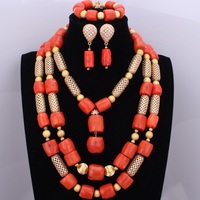 2018 Orange Big Design Nature Coral Jewelry Sets Luxury Gold Color Costume Bridal Wedding Party Necklace Set African Beads Set