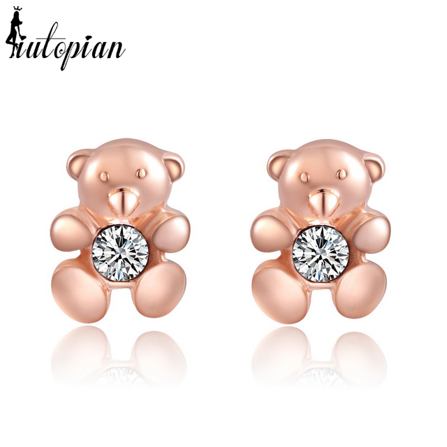 Italina R A Cute Teddy Bear Stud Earrings For Women Brincos Anti Allergic Jewelry Children