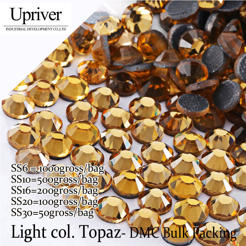 Upriver Large Pack Bulk Packing Shiny Stones SS6 SS10 SS16 SS20 SS30 Light colorado Topaz Hotfix Rhinestones