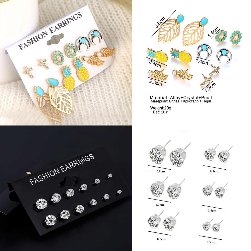 IPARAM Bohemian Earrings Set Crystal Leaf Flower Pearl Crystal Earrings Fashion Retro Ladies Zircon Crystal Charm Jewelry Gift