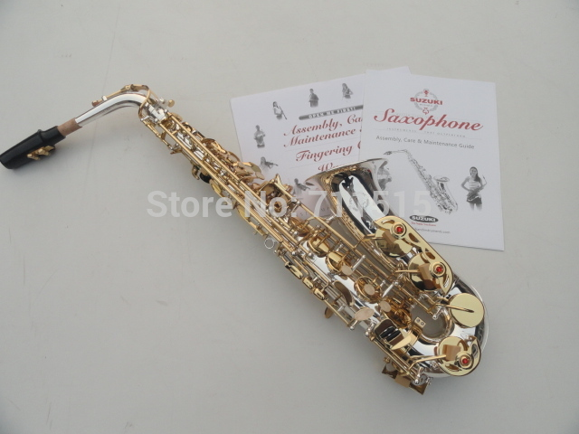 Brand SUZUKI Saxophone alto musical instruments alto saxophone Falling Tune E(F) surface silver plated/gold key Sax SAX-400S brand suzuki eb alto saxophone as 500n drop e saxophone surface to electroplating black nickel gold the paint sax instrument