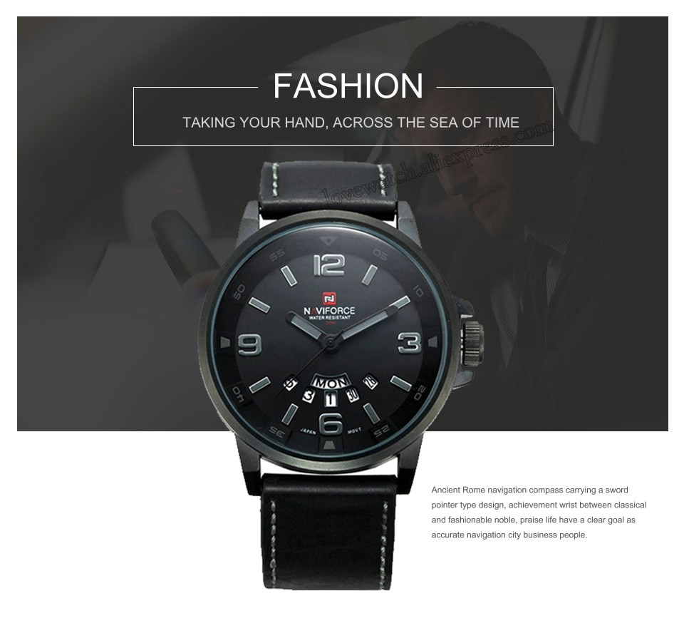 quartz navigation leather naviforce clock business casual men top item male watches luxury watch brand mens