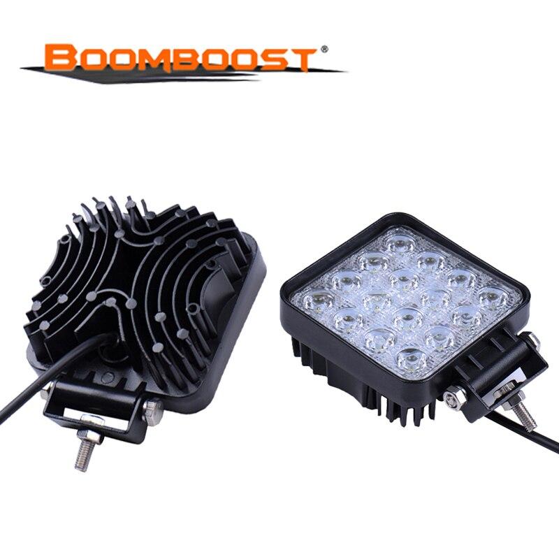 2 pièces 4 Inch 48 W LED ronde 12 V 24 V conduite travail lumière Spot/faisceau d'inondation 4X4 tracteur camion 24 V moto ATV Offroad brouillard