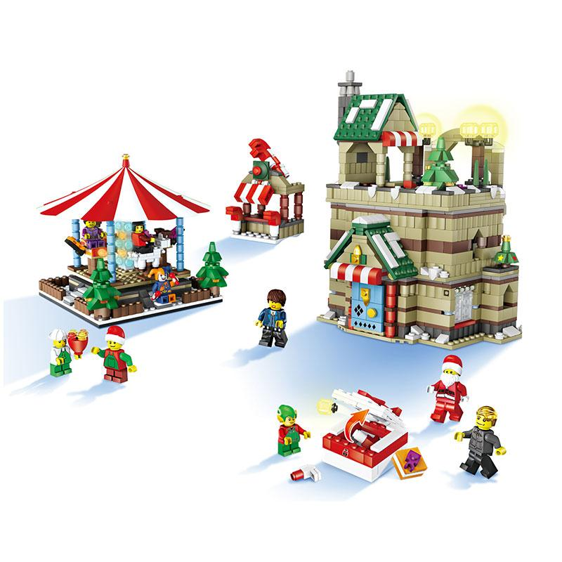JJRC Christmas  Village Merry-Go-Round Scene and Set Christmas Elk Pull Car Santa Claus  House Building Blocks kids toy inflatable cartoon customized advertising giant christmas inflatable santa claus for christmas outdoor decoration