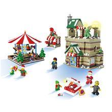 JJRC Christmas Village Merry-Go-Round Scene and Set Elk Pull Car Santa Claus House Building Blocks kids toy