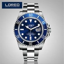 LOREO Sapphire Automatic Mechanical Watch Men Chronograph Stainless Steel Waterproof Luminous Watch Relogio Masculine AB2032