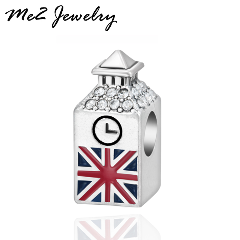 European Silver Plated British Big Ben Charm Beads Fit