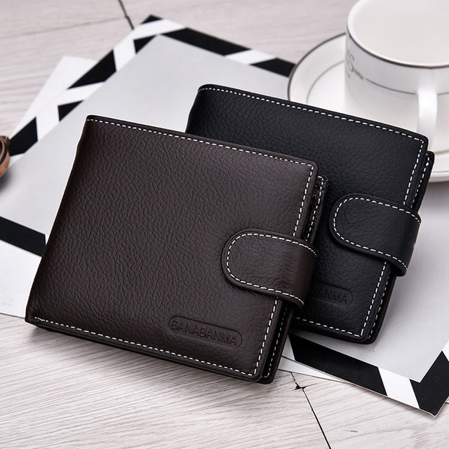 Short Bifold Business Leather Wallet