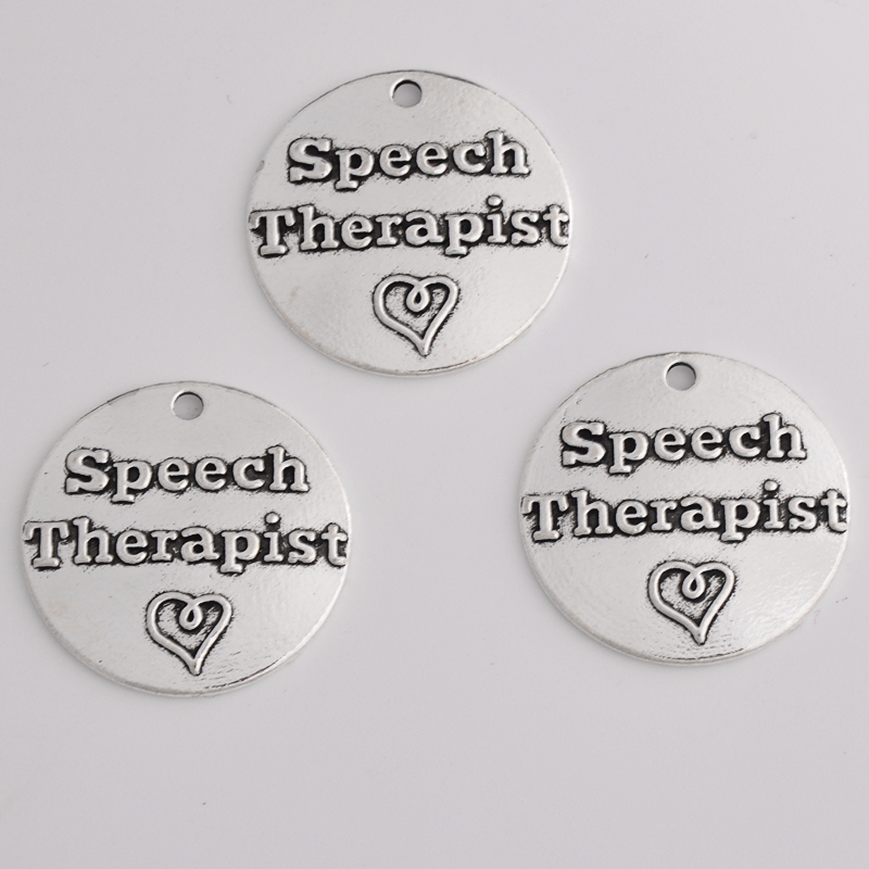 Buy 10pcs 25MM Speech therapist antique silver word inspirational charms round tag message pendants for bracelet diy jewelry vintage for only 3.4 USD