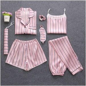 Image 5 - Fdfklakฤดูใบไม้ร่วง 2020 ใหม่ 7 Pcsชุดนอนชุดนอนชุดนอนฤดูร้อนผู้หญิงชุดนอนPijamaเซ็กซี่ผ้าไหมดอกไม้Sleepเสื้อผ้าเสื้อผ้า