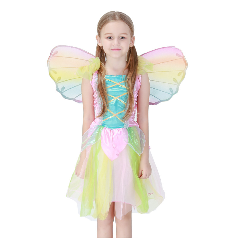 Cute Rainbow Angel Skirt Halloween Children Princess Dress Stage Performance Cosplay Angel Costume Girl Dance Dress