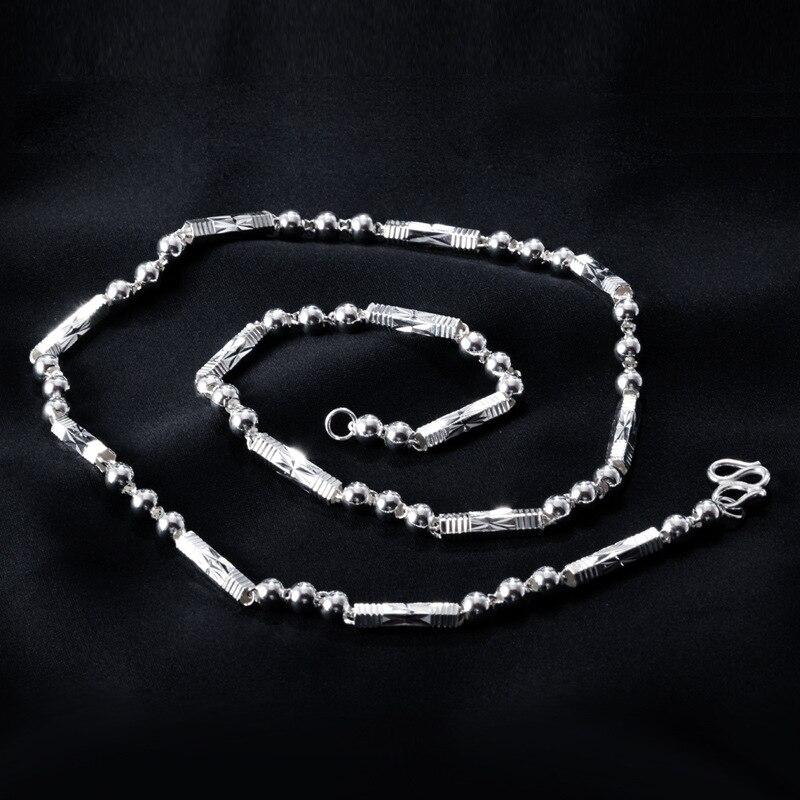 FNJ 925 argent boule chaîne 47 cm Original S925 argent collier pour femmes bijoux