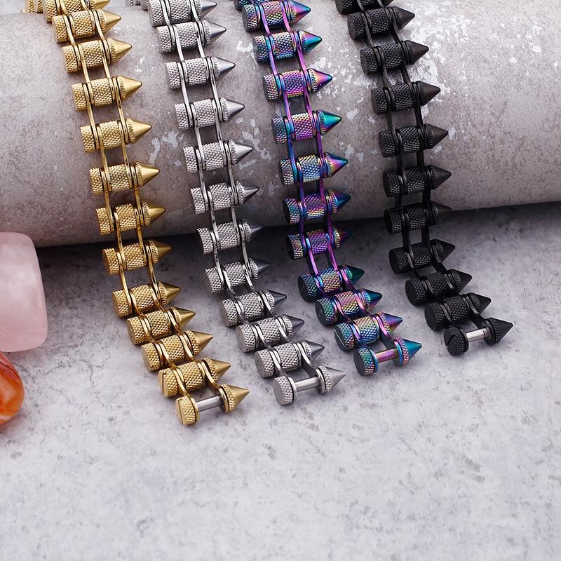 Punk Gothic Rock Accessories Titanium Steel Bullet Men's Bracelet Motorcycle Bracelet