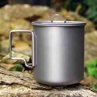 Alev creed 420 ml titanyum fincan açık kamp tencere piknik titanyum kupa couverts trekking için mutfak aletleri sofra