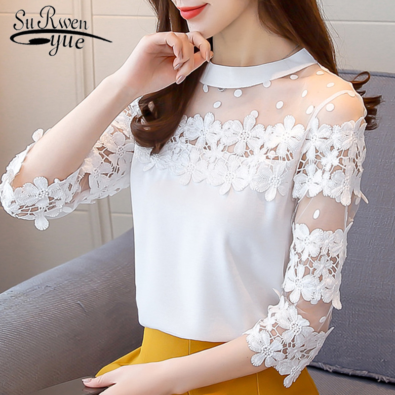 fashion women   blouses   2018 Sexy hollow patchwork lace women   blouse     shirt   long sleeve chiffon women's tops   shirt   women 0709 30
