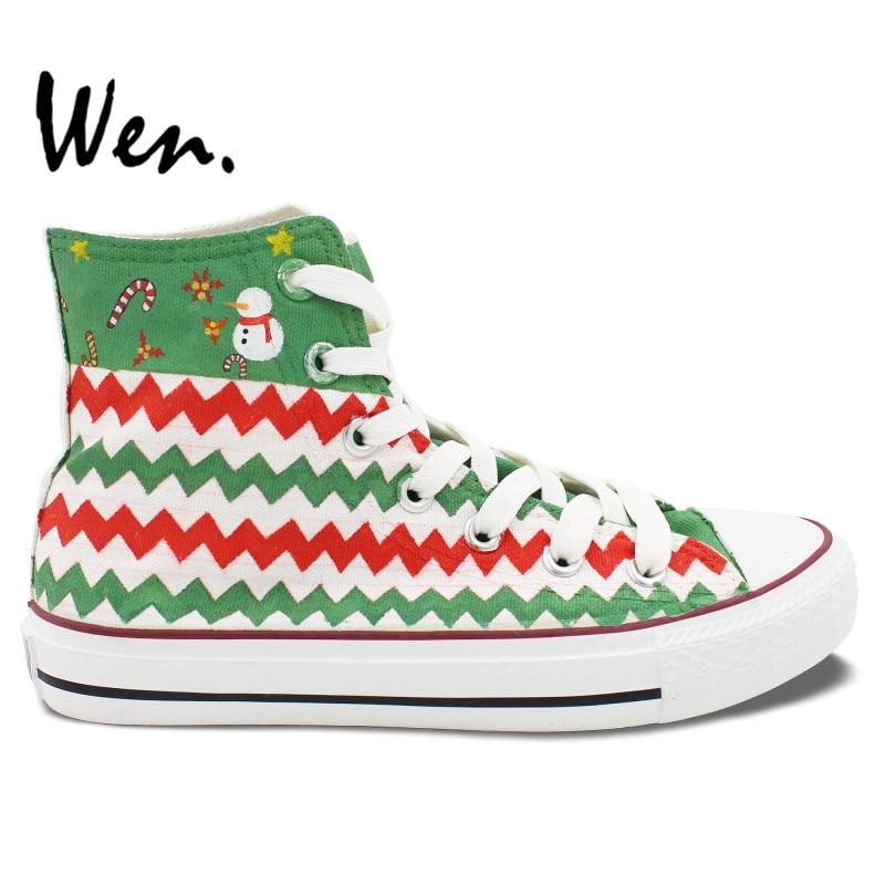 499b7e17f Wen Unisex Zapatos Casuales Pintados A Mano de Encargo Diseño Feliz Navidad  Calcetines Muñeco de nieve de Los Hombres Altos Zapatos de Lona Superiores  de ...