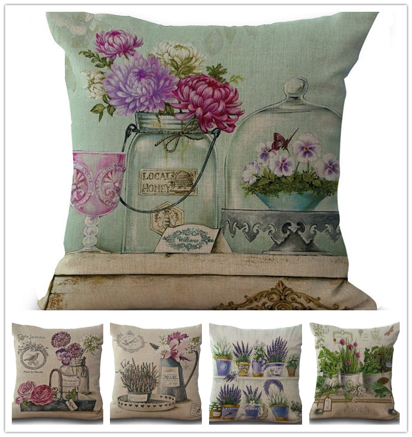 home decor wholesale distributors canada vintage flowers pillow cover cushion cover linen 12663