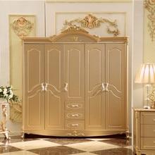 Античный шкаф из цельного дерева дизайн деревянная мебель для спальни 5 дверей стенной шкаф шкафы